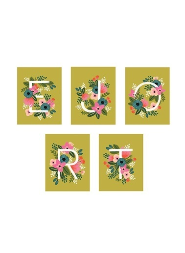 R Harfli Monogram Kart 8'li-Rifle Paper Co.